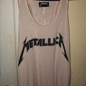 Tops - Light pink Metallica racer back